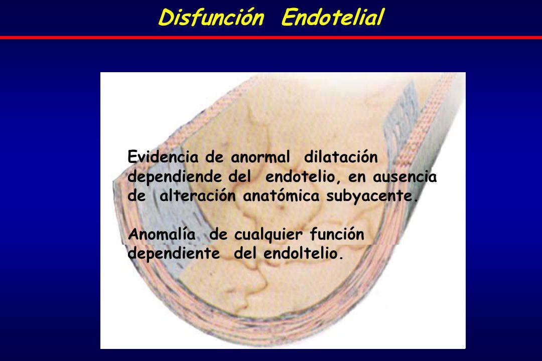 Evidencia de anormal dilatación dependiende del endotelio, en ausencia de alteración anatómica subyacente.