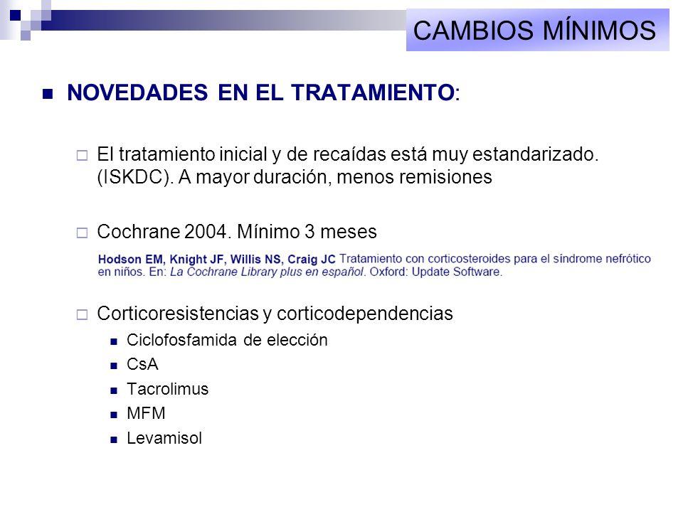 NOVEDADES EN EL TRATAMIENTO: El tratamiento inicial y de recaídas está muy estandarizado. (ISKDC). A mayor duración, menos remisiones Cochrane 2004. M