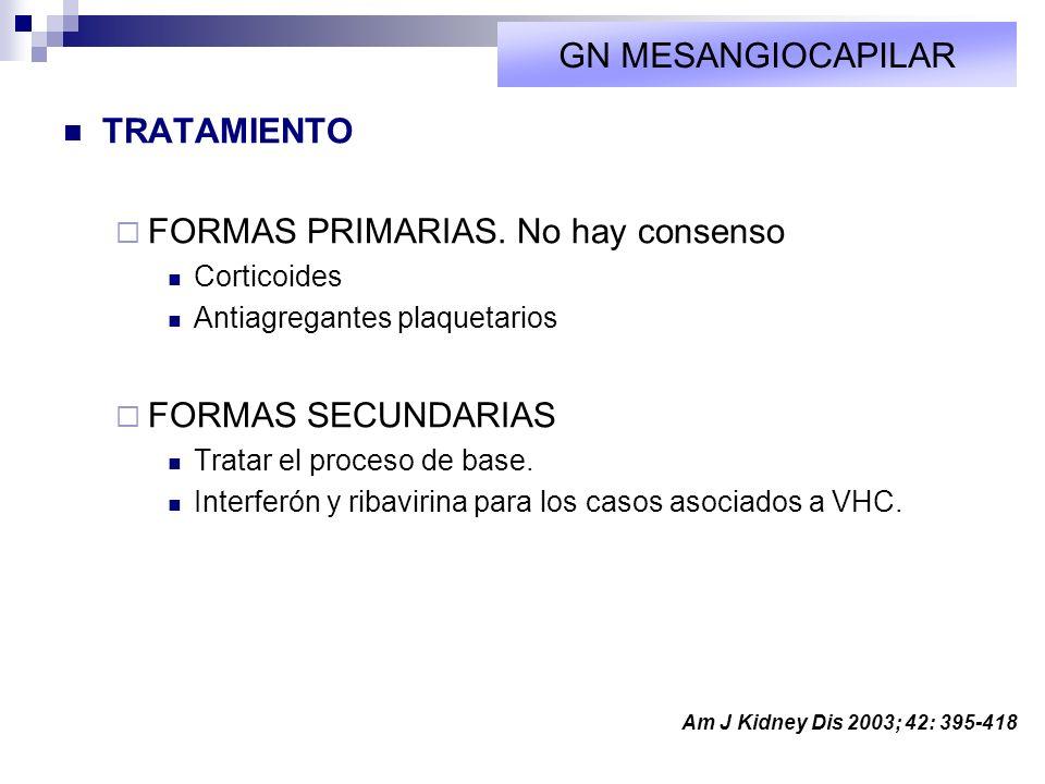 TRATAMIENTO FORMAS PRIMARIAS. No hay consenso Corticoides Antiagregantes plaquetarios FORMAS SECUNDARIAS Tratar el proceso de base. Interferón y ribav