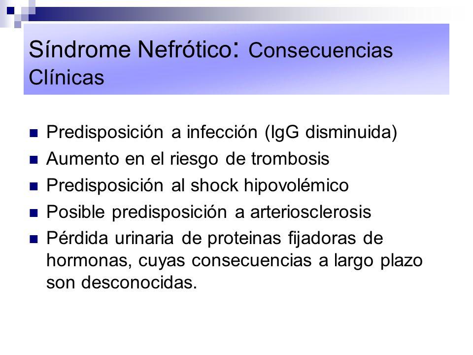 Síndrome Nefrótico : Consecuencias Clínicas Predisposición a infección (IgG disminuida) Aumento en el riesgo de trombosis Predisposición al shock hipo