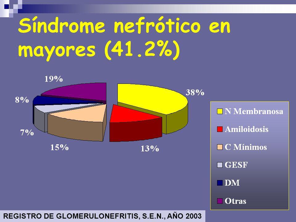 MCD: Cambios Mínimos FSGS: GN segmentaria y focal EndocGN: GN proliferativa endocapilar CRESGN: GN Rápidamente progresiva – Vasculitis MPGN: GN Mesangiocapilar MN: Nefropatía membranosa IgAN: Nefropatía IgA LES: Lupus eritematoso sistémico AMIL: Amiloidosis DM: Diabetes Mellitus N=3007 biopsias SÍNDROME NEFRÓTICO