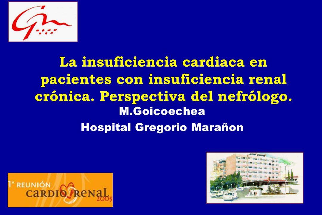 Relación entre enfermedad renal crónica e insuficiencia cardiaca congestiva NHANES III, AJKD 2002; 40:1132-1137Goicoechea et al, AJKD 2004;43:846-853