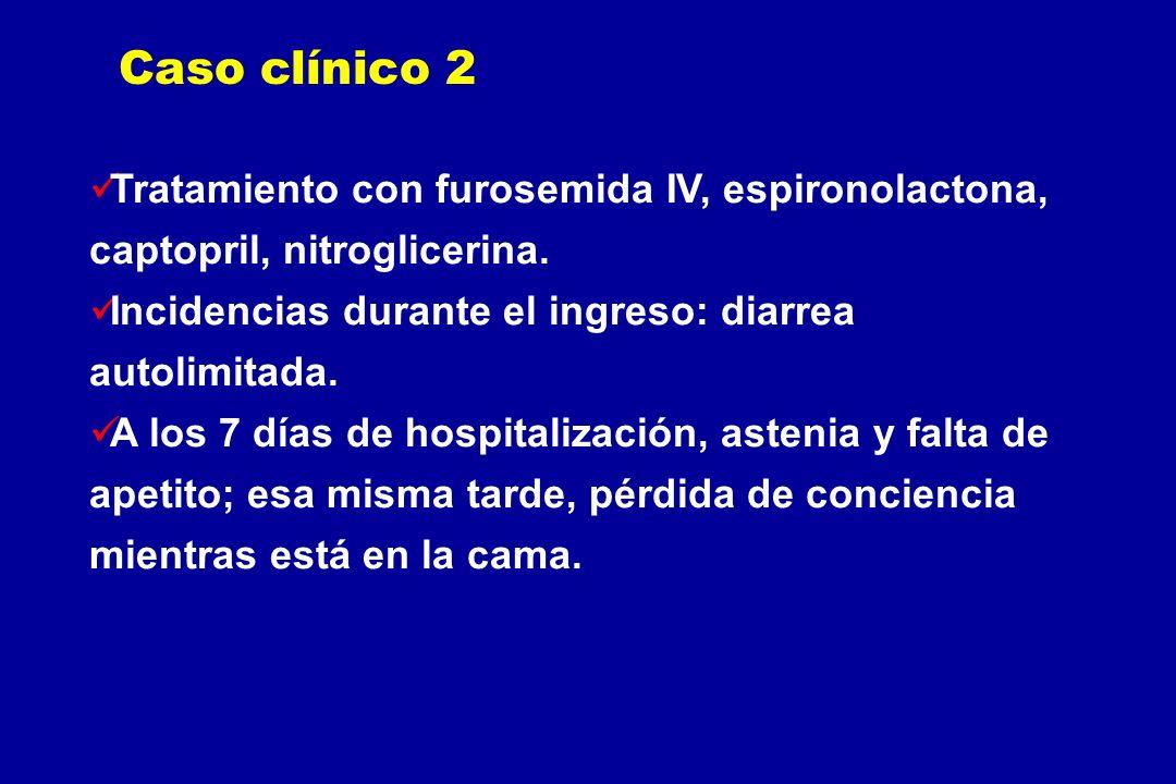 Tratamiento con furosemida IV, espironolactona, captopril, nitroglicerina. Incidencias durante el ingreso: diarrea autolimitada. A los 7 días de hospi