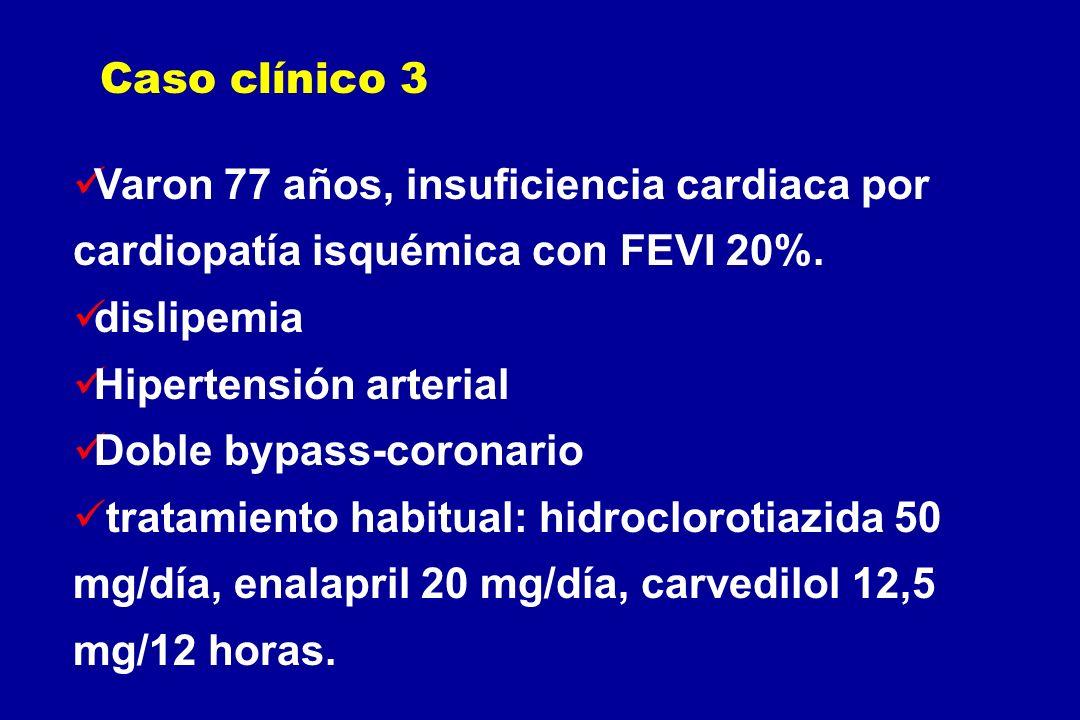 Varon 77 años, insuficiencia cardiaca por cardiopatía isquémica con FEVI 20%. dislipemia Hipertensión arterial Doble bypass-coronario tratamiento habi