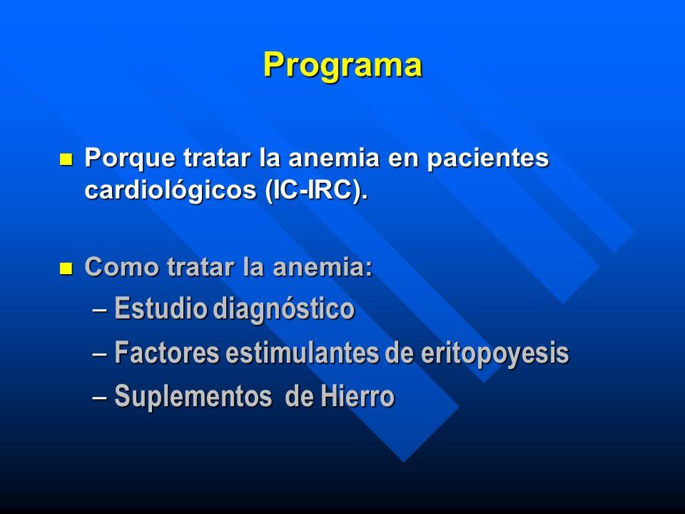 Programa n Porque tratar la anemia en pacientes cardiológicos (IC-IRC). n Como tratar la anemia: – Estudio diagnóstico – Factores estimulantes de erit