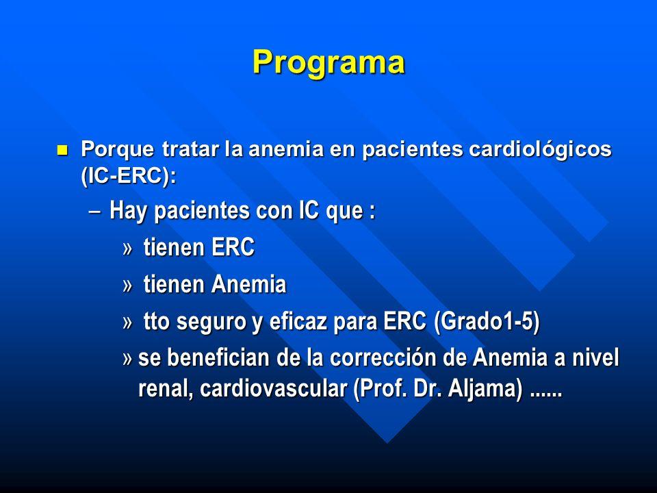 Programa n Porque tratar la anemia en pacientes cardiológicos (IC-ERC): – Hay pacientes con IC que : » tienen ERC » tienen Anemia » tto seguro y efica