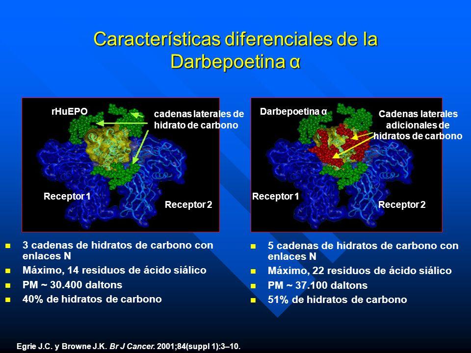 Características diferenciales de la Darbepoetina α n n 3 cadenas de hidratos de carbono con enlaces N n n Máximo, 14 residuos de ácido siálico n n PM
