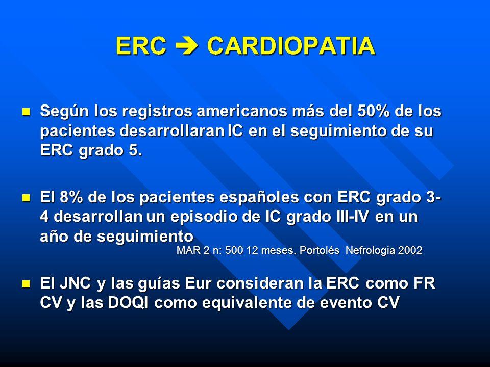 ERC CARDIOPATIA n Según los registros americanos más del 50% de los pacientes desarrollaran IC en el seguimiento de su ERC grado 5. n El 8% de los pac