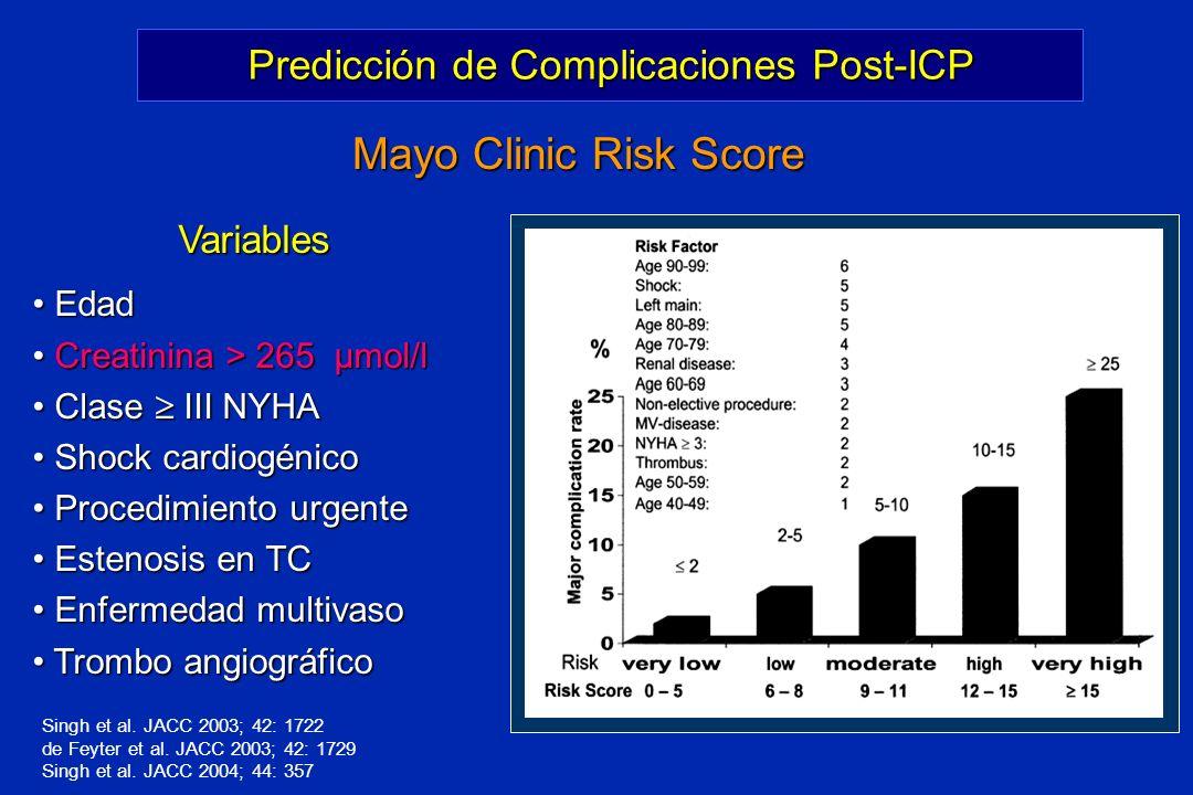 Predicción de Complicaciones Post-ICP Mayo Clinic Risk Score Variables Variables Edad Edad Creatinina > 265 µmol/l Creatinina > 265 µmol/l Clase III N