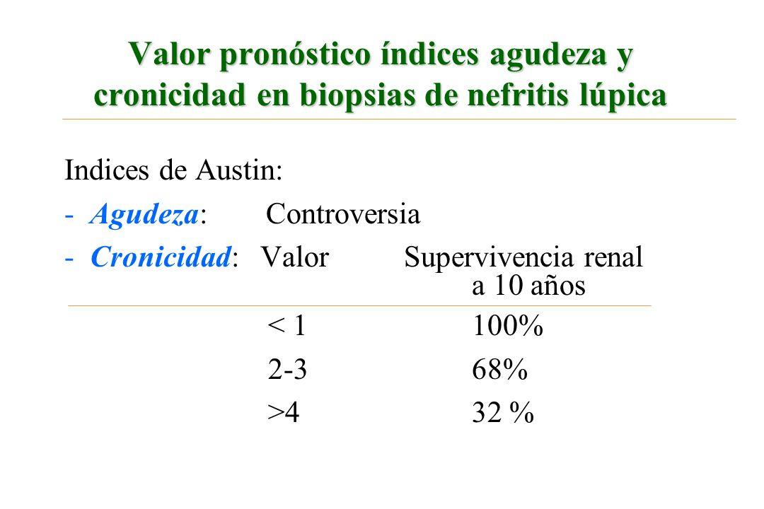 Valor pronóstico índices agudeza y cronicidad en biopsias de nefritis lúpica Indices de Austin: -Agudeza: Controversia -Cronicidad: Valor Supervivenci