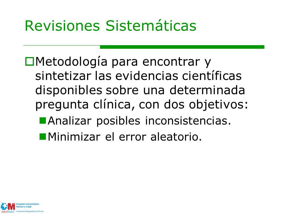 Revisiones Sistemáticas Metodología para encontrar y sintetizar las evidencias científicas disponibles sobre una determinada pregunta clínica, con dos objetivos: Analizar posibles inconsistencias.