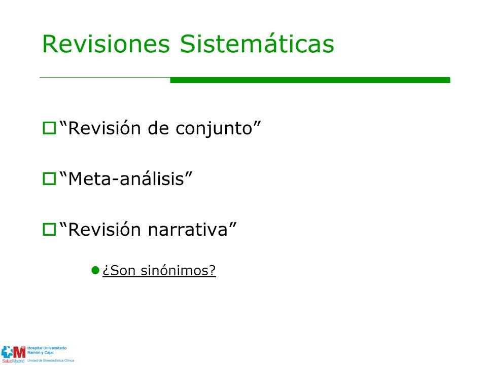 Revisión de conjunto Meta-análisis Revisión narrativa ¿Son sinónimos? Revisiones Sistemáticas