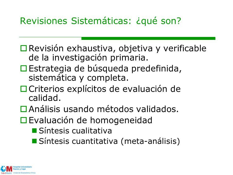 Revisiones Sistemáticas: ¿qué son? Revisión exhaustiva, objetiva y verificable de la investigación primaria. Estrategia de búsqueda predefinida, siste
