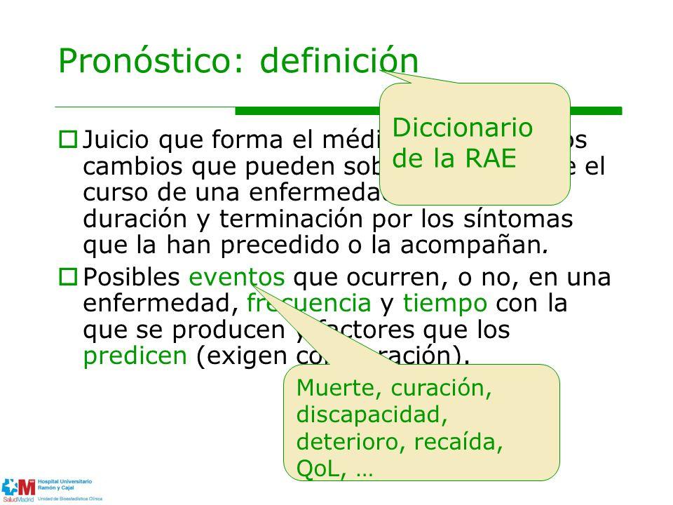 Pronóstico: definición Juicio que forma el médico respecto a los cambios que pueden sobrevenir durante el curso de una enfermedad, y sobre su duración