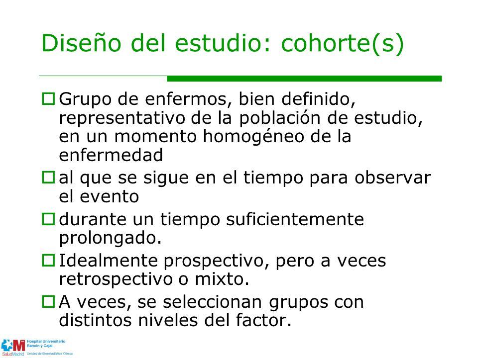 Diseño del estudio: cohorte(s) Grupo de enfermos, bien definido, representativo de la población de estudio, en un momento homogéneo de la enfermedad a