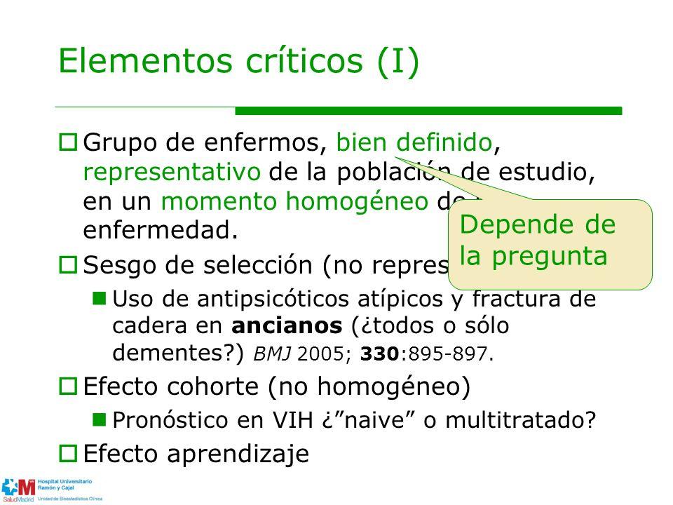 Elementos críticos (I) Grupo de enfermos, bien definido, representativo de la población de estudio, en un momento homogéneo de la enfermedad. Sesgo de