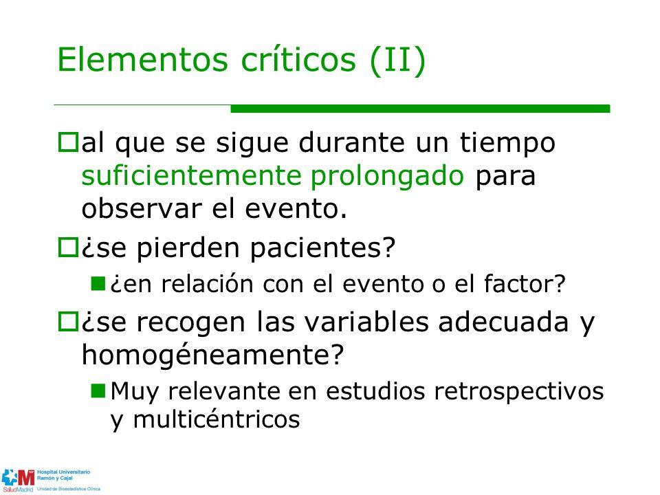 Elementos críticos (II) al que se sigue durante un tiempo suficientemente prolongado para observar el evento. ¿se pierden pacientes? ¿en relación con