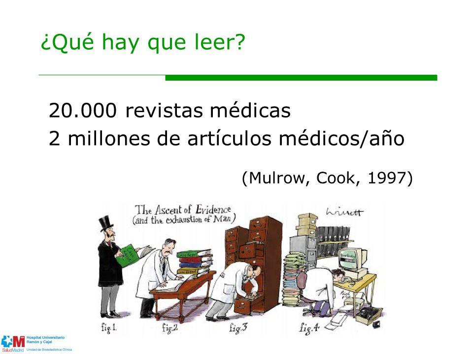 20.000 revistas médicas 2 millones de artículos médicos/año (Mulrow, Cook, 1997)