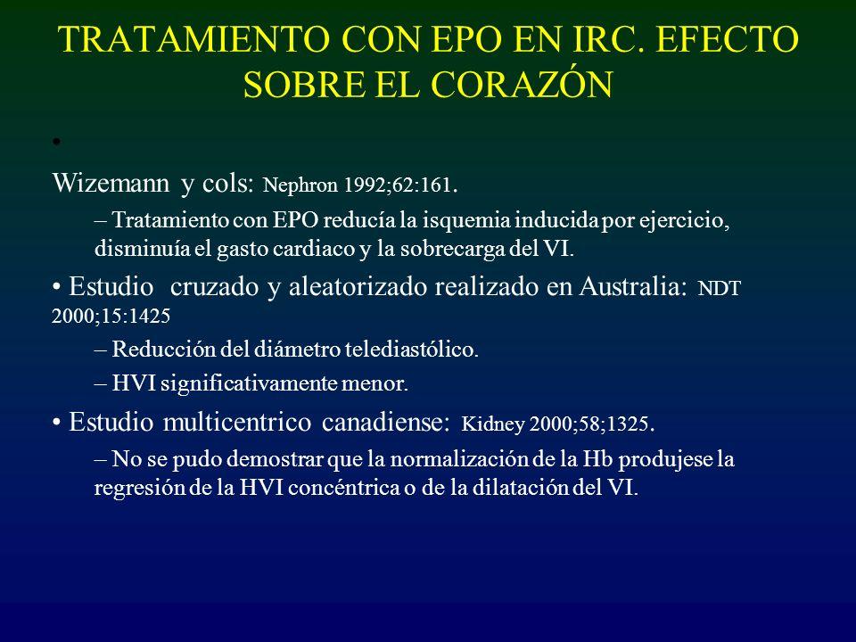 TRATAMIENTO CON EPO EN IRC. EFECTO SOBRE EL CORAZÓN Wizemann y cols: Nephron 1992;62:161. – Tratamiento con EPO reducía la isquemia inducida por ejerc