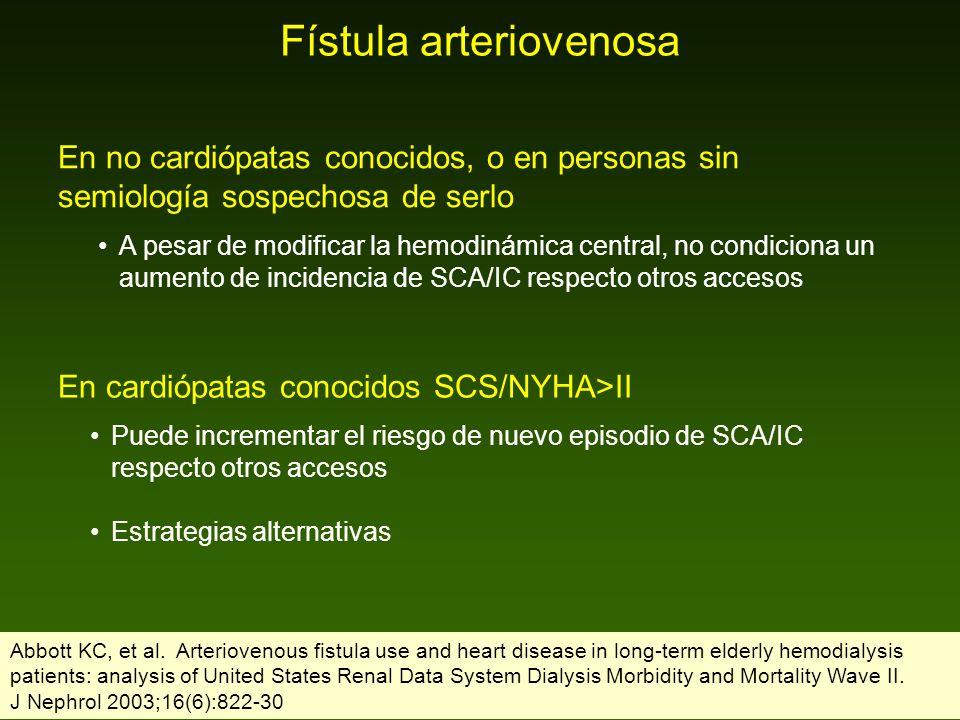 Fístula arteriovenosa En no cardiópatas conocidos, o en personas sin semiología sospechosa de serlo A pesar de modificar la hemodinámica central, no c