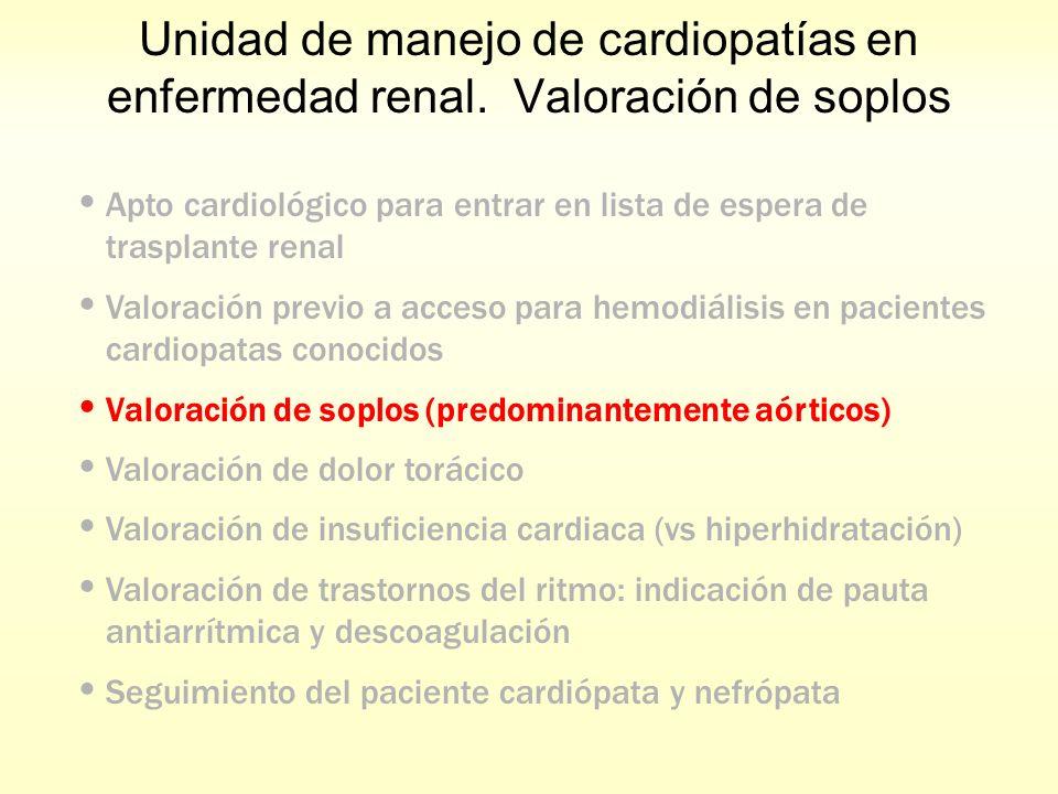Unidad de manejo de cardiopatías en enfermedad renal. Valoración de soplos Apto cardiológico para entrar en lista de espera de trasplante renal Valora