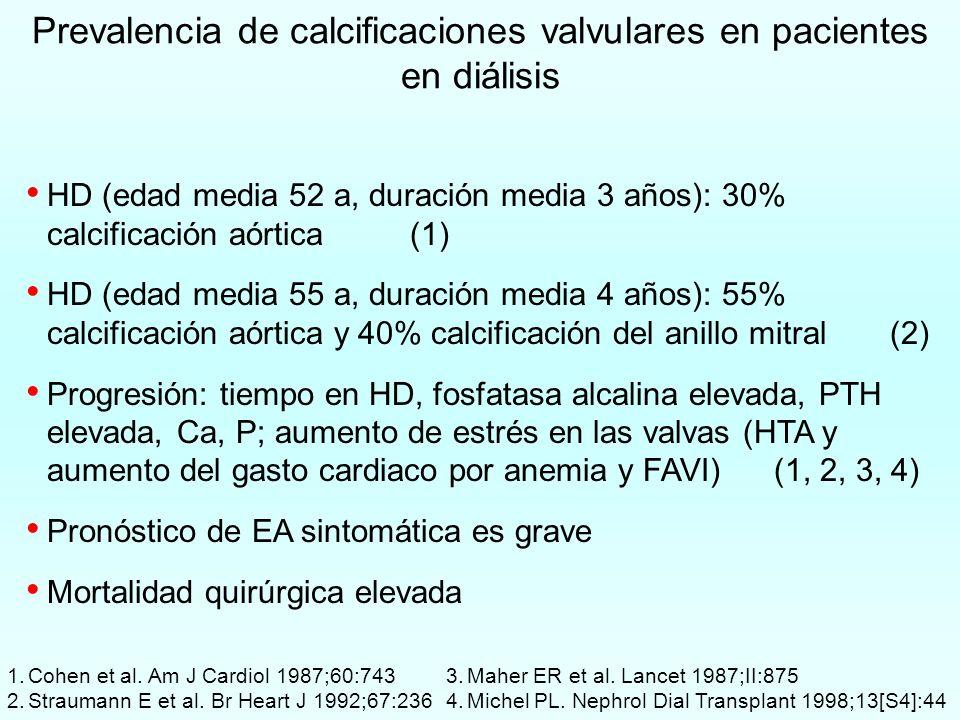 Prevalencia de calcificaciones valvulares en pacientes en diálisis HD (edad media 52 a, duración media 3 años): 30% calcificación aórtica(1) HD (edad