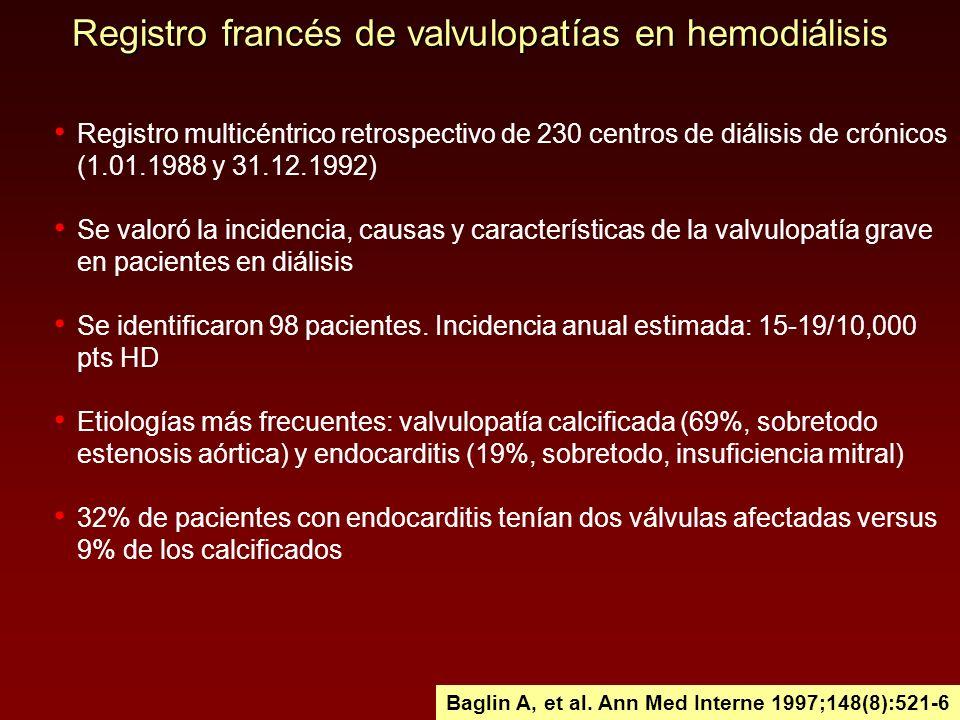 Registro francés de valvulopatías en hemodiálisis Registro multicéntrico retrospectivo de 230 centros de diálisis de crónicos (1.01.1988 y 31.12.1992)