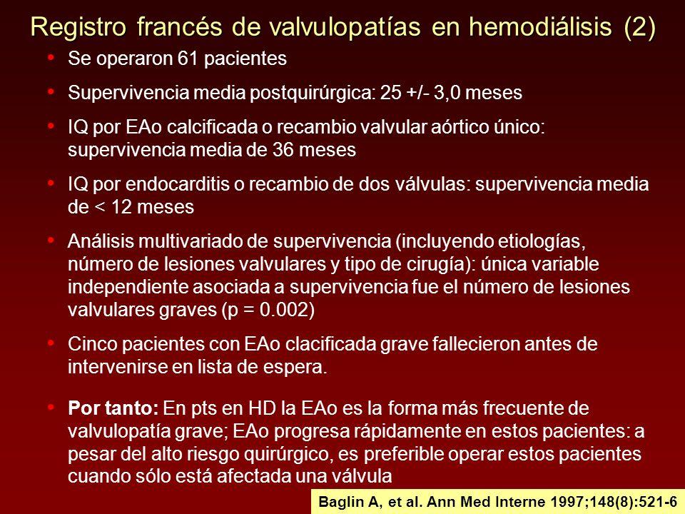 Registro francés de valvulopatías en hemodiálisis (2) Se operaron 61 pacientes Supervivencia media postquirúrgica: 25 +/- 3,0 meses IQ por EAo calcifi
