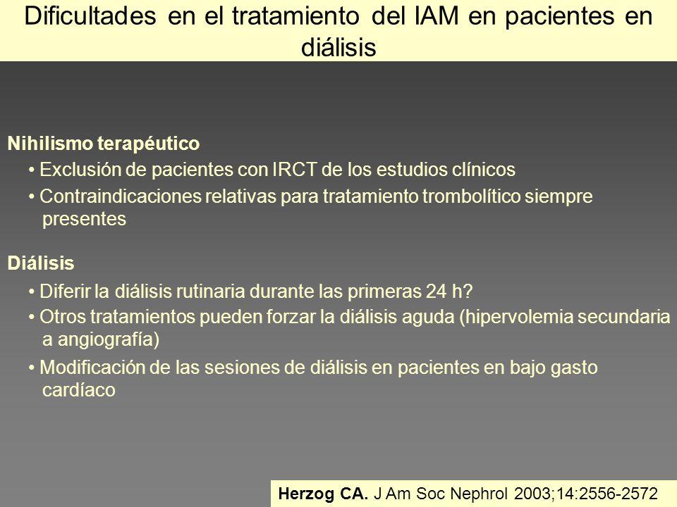 Dificultades en el tratamiento del IAM en pacientes en diálisis Nihilismo terapéutico Exclusión de pacientes con IRCT de los estudios clínicos Contrai