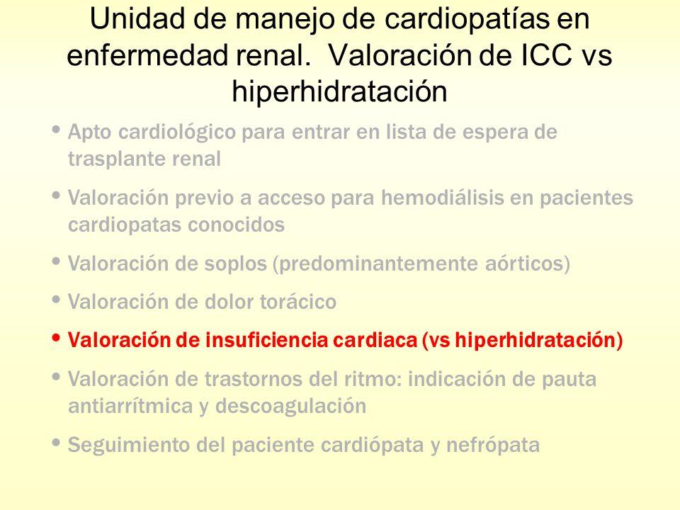 Unidad de manejo de cardiopatías en enfermedad renal. Valoración de ICC vs hiperhidratación Apto cardiológico para entrar en lista de espera de traspl