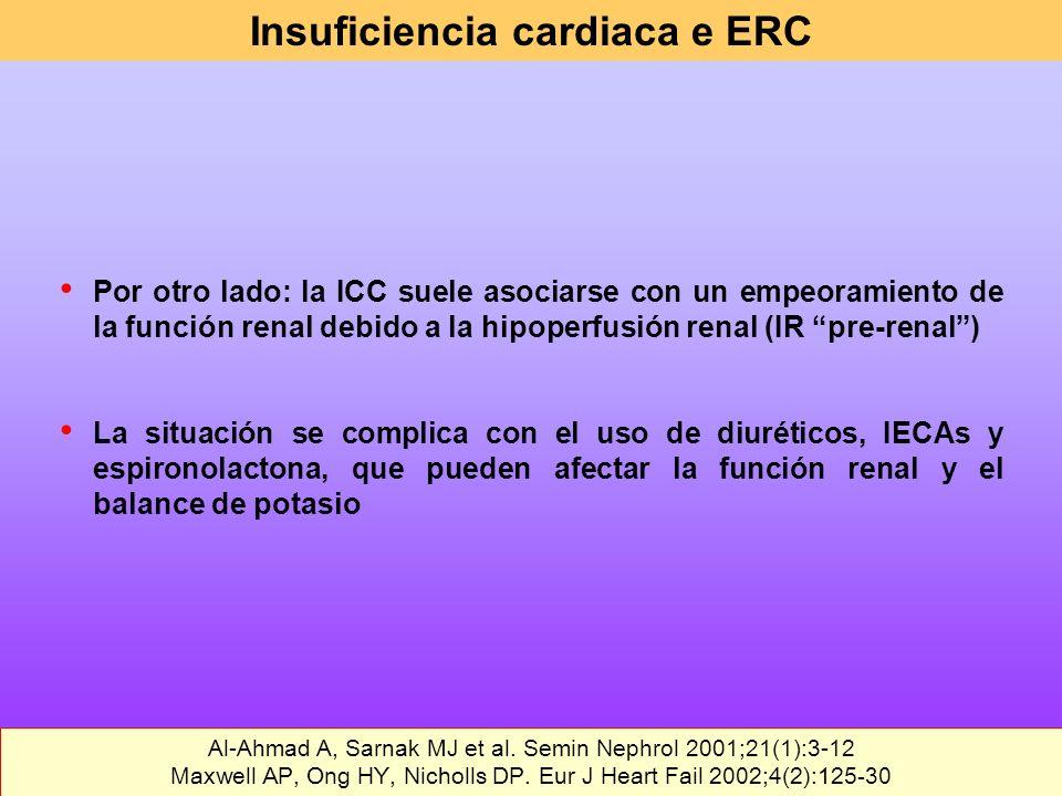 Por otro lado: la ICC suele asociarse con un empeoramiento de la función renal debido a la hipoperfusión renal (IR pre-renal) La situación se complica