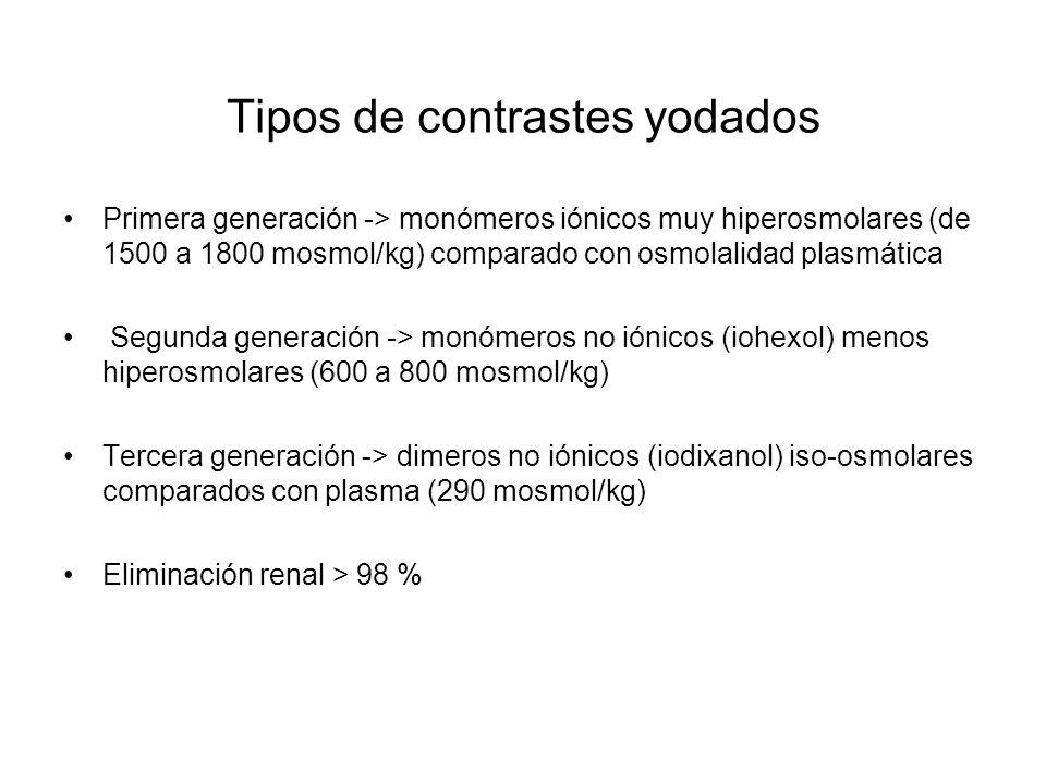 Tipos de contrastes yodados Primera generación -> monómeros iónicos muy hiperosmolares (de 1500 a 1800 mosmol/kg) comparado con osmolalidad plasmática