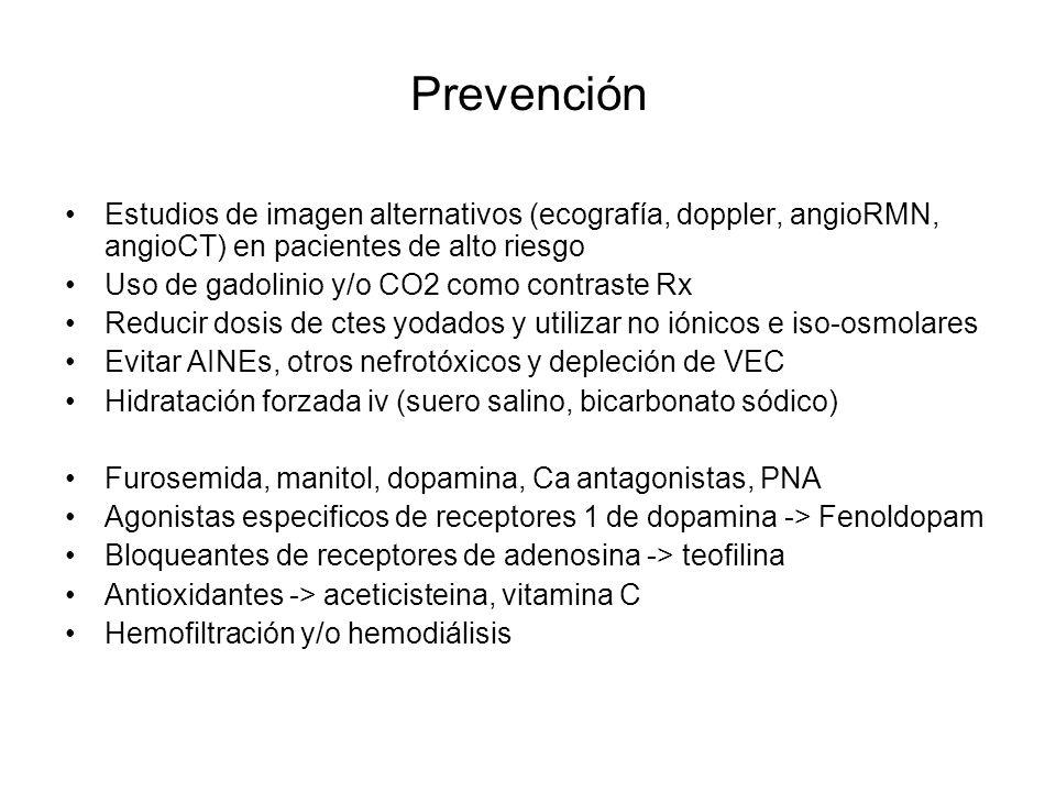 Prevención Estudios de imagen alternativos (ecografía, doppler, angioRMN, angioCT) en pacientes de alto riesgo Uso de gadolinio y/o CO2 como contraste
