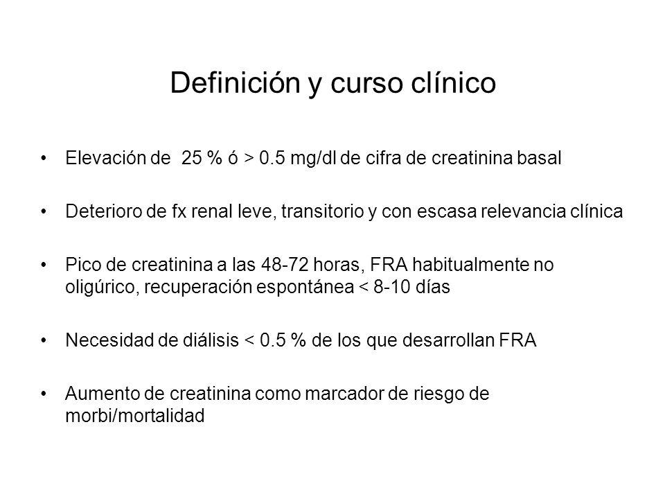 Definición y curso clínico Elevación de 25 % ó > 0.5 mg/dl de cifra de creatinina basal Deterioro de fx renal leve, transitorio y con escasa relevanci