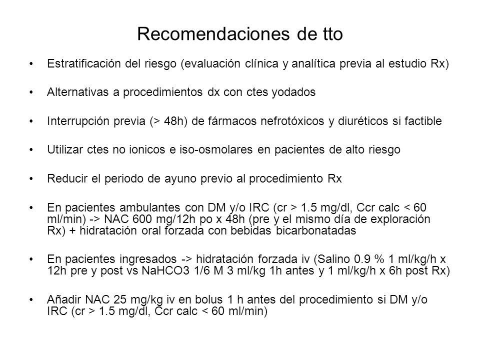 Recomendaciones de tto Estratificación del riesgo (evaluación clínica y analítica previa al estudio Rx) Alternativas a procedimientos dx con ctes yoda