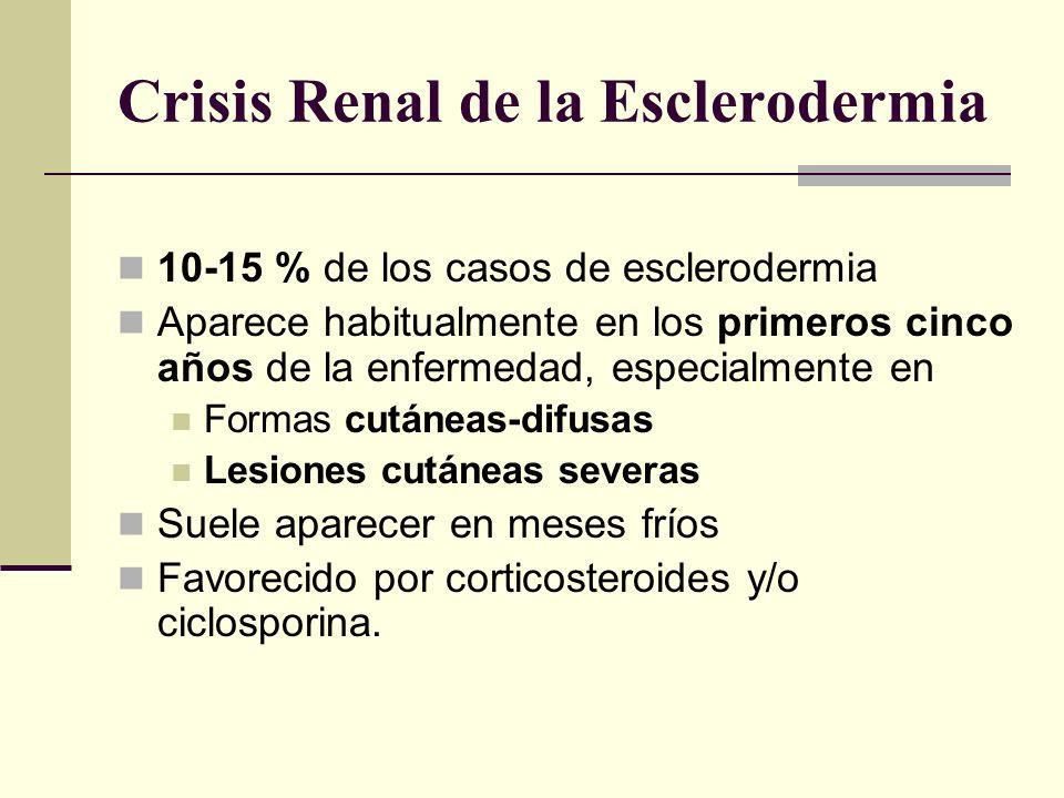 Crisis Renal de la Esclerodermia 10-15 % de los casos de esclerodermia Aparece habitualmente en los primeros cinco años de la enfermedad, especialment