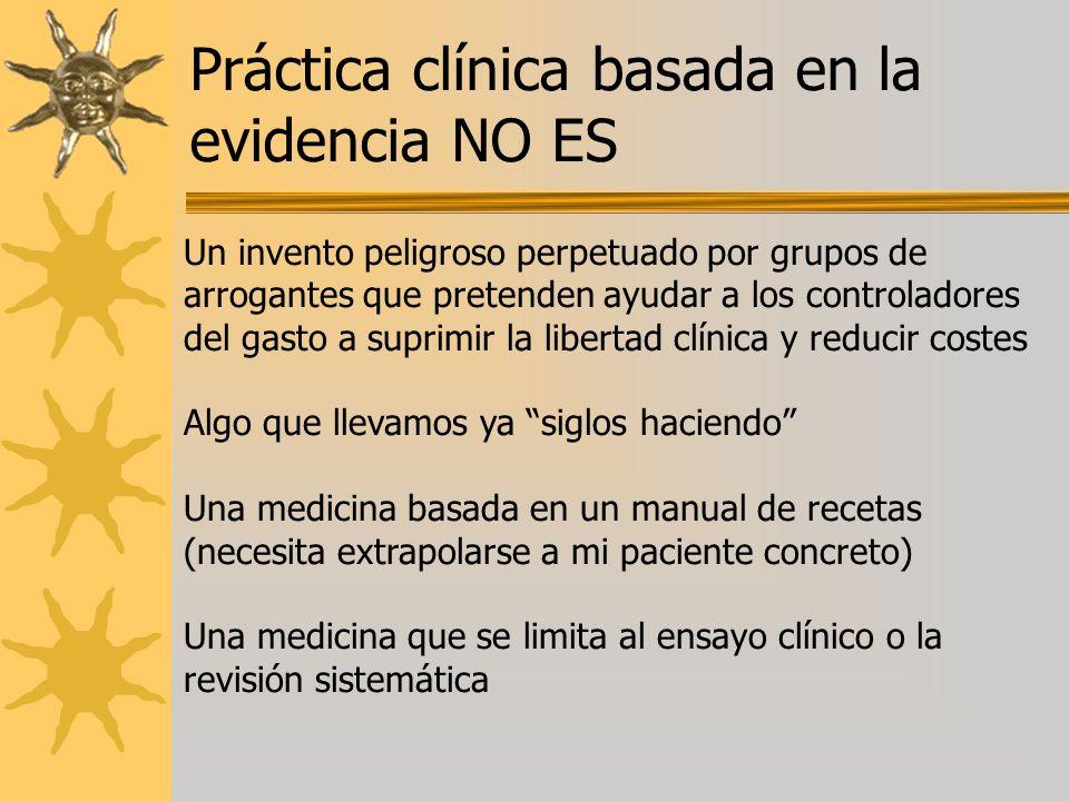Práctica clínica basada en la evidencia NO ES Un invento peligroso perpetuado por grupos de arrogantes que pretenden ayudar a los controladores del ga