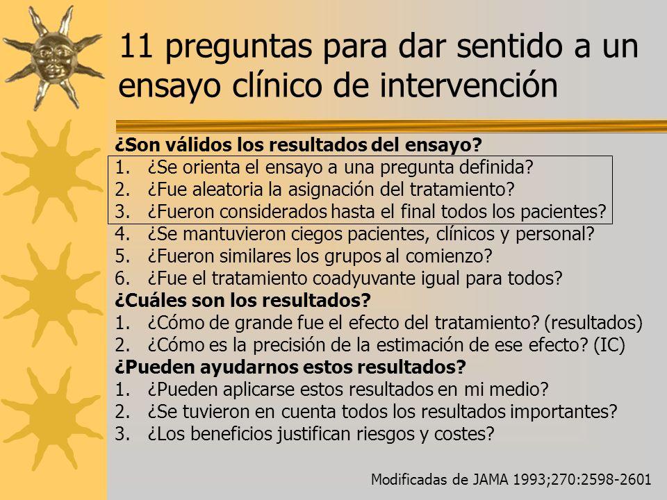 11 preguntas para dar sentido a un ensayo clínico de intervención ¿Son válidos los resultados del ensayo? 1.¿Se orienta el ensayo a una pregunta defin