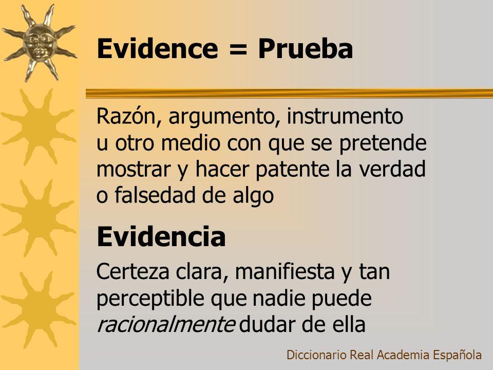 Evidence = Prueba Certeza clara, manifiesta y tan perceptible que nadie puede racionalmente dudar de ella Diccionario Real Academia Española Razón, ar