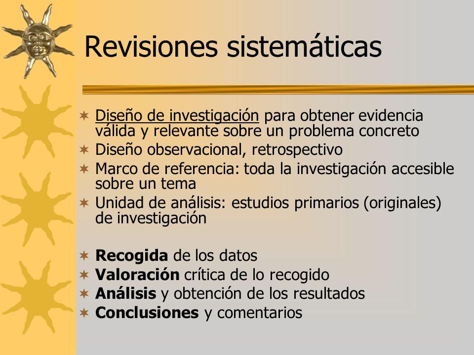 Diseño de investigación para obtener evidencia válida y relevante sobre un problema concreto Diseño observacional, retrospectivo Marco de referencia: