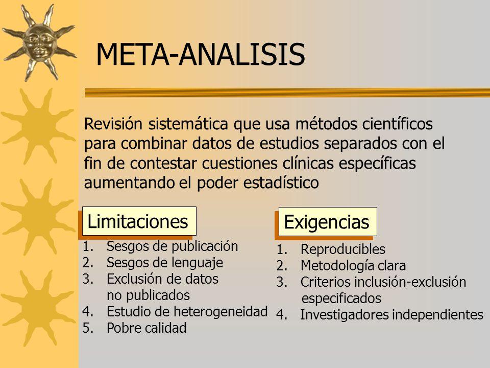 META-ANALISIS Revisión sistemática que usa métodos científicos para combinar datos de estudios separados con el fin de contestar cuestiones clínicas e