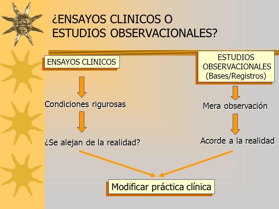 ¿ENSAYOS CLINICOS O ESTUDIOS OBSERVACIONALES? ENSAYOS CLINICOS ESTUDIOS OBSERVACIONALES (Bases/Registros) ESTUDIOS OBSERVACIONALES (Bases/Registros) M