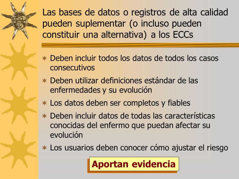 Las bases de datos o registros de alta calidad pueden suplementar (o incluso pueden constituir una alternativa) a los ECCs Deben incluir todos los dat