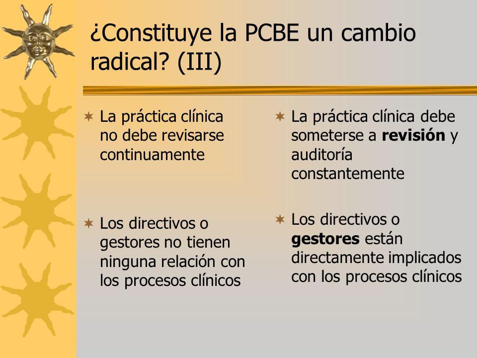 La práctica clínica no debe revisarse continuamente Los directivos o gestores no tienen ninguna relación con los procesos clínicos La práctica clínica