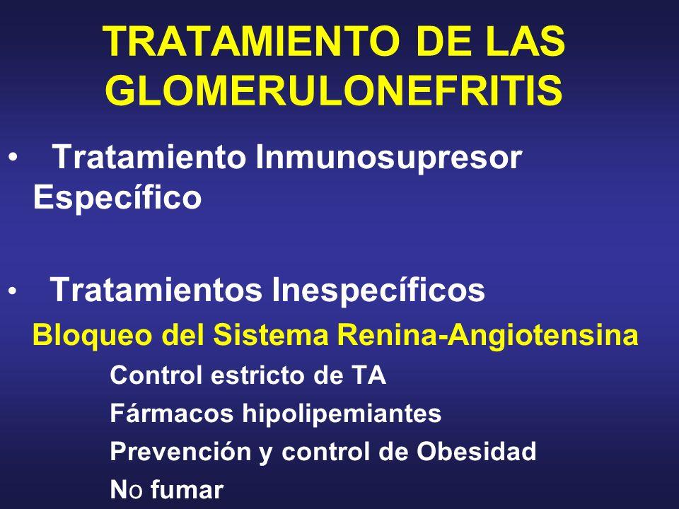 TRATAMIENTO DE LAS GLOMERULONEFRITIS Tratamiento Inmunosupresor Específico Tratamientos Inespecíficos Bloqueo del Sistema Renina-Angiotensina Control