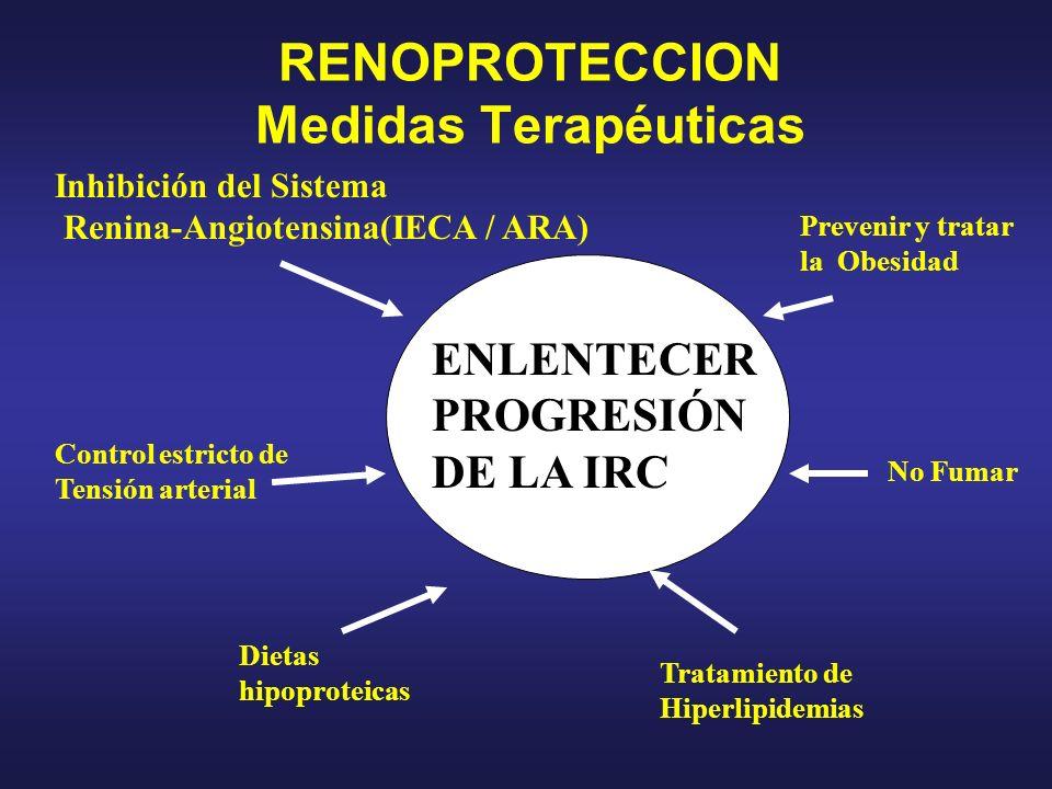 RENOPROTECCION Medidas Terapéuticas Inhibición del Sistema Renina-Angiotensina(IECA / ARA) Control estricto de Tensión arterial Dietas hipoproteicas P