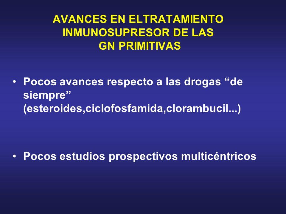 AVANCES EN ELTRATAMIENTO INMUNOSUPRESOR DE LAS GN PRIMITIVAS Pocos avances respecto a las drogas de siempre (esteroides,ciclofosfamida,clorambucil...)