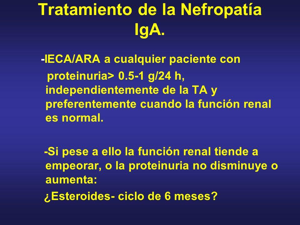Tratamiento de la Nefropatía IgA. -IECA/ARA a cualquier paciente con proteinuria> 0.5-1 g/24 h, independientemente de la TA y preferentemente cuando l