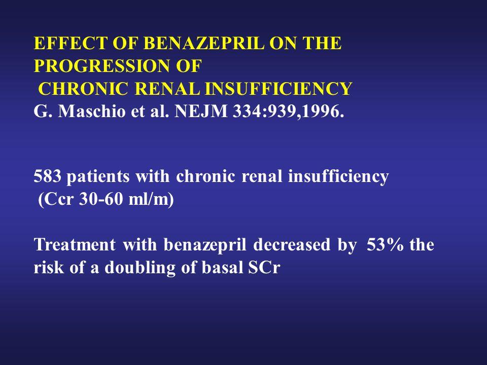 EFFECT OF BENAZEPRIL ON THE PROGRESSION OF CHRONIC RENAL INSUFFICIENCY G. Maschio et al. NEJM 334:939,1996. 583 patients with chronic renal insufficie