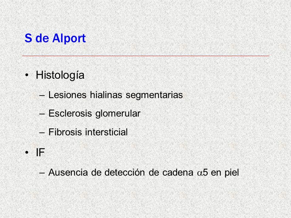 S de Alport Histología –Lesiones hialinas segmentarias –Esclerosis glomerular –Fibrosis intersticial IF –Ausencia de detección de cadena 5 en piel